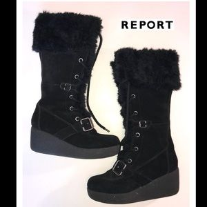 Report Size 6.5 Black Faux Fur Knee High Boots